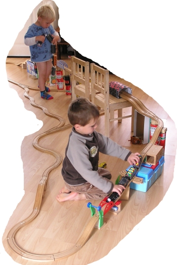 Smalls playing with Thomas track